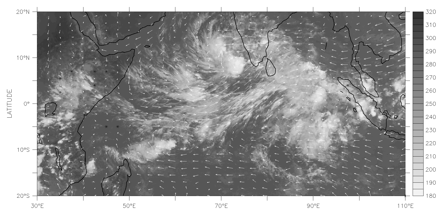 Un évènement MJO sur l'océan Indien: image satellitaire infra-rouge obtenue par Météosat le 26 novembre 2011 à 12h UTC, et vents à 850hPa